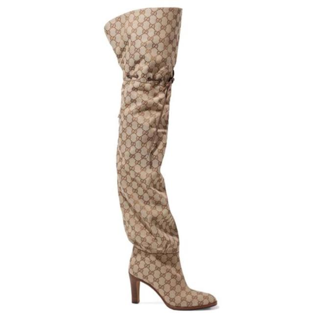 Gucci Beige Lisa Leather Trimmed Gg Logo Jacquard Over The Knee Boots/Booties Size EU 38 (Approx. US 8) Regular (M, B) Gucci Beige Lisa Leather Trimmed Gg Logo Jacquard Over The Knee Boots/Booties Size EU 38 (Approx. US 8) Regular (M, B) Image 1