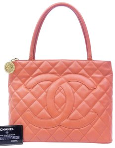 Chanel Pink Caviar Leather Quilted Boston Satchel in Red Orange