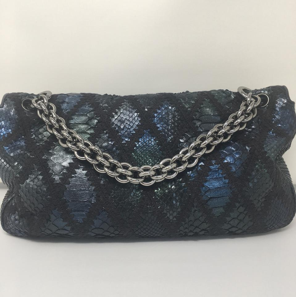 "f99874993d39 Chanel Metallic Python& Crochet ""flap"" Navy Blue Shoulder Bag - Tradesy"