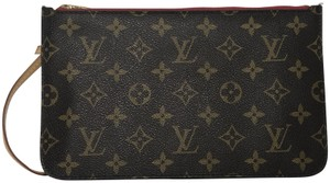Louis Vuitton Monogram Neverfull Neverfull Pouch Pouch Monogram Canvas Wristlet in Brown