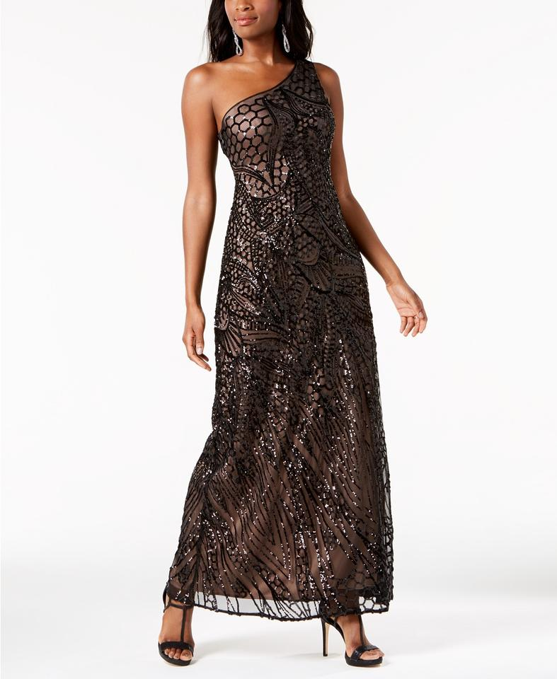 Night Way Collections Lace Illusion A-line Gown Black Long