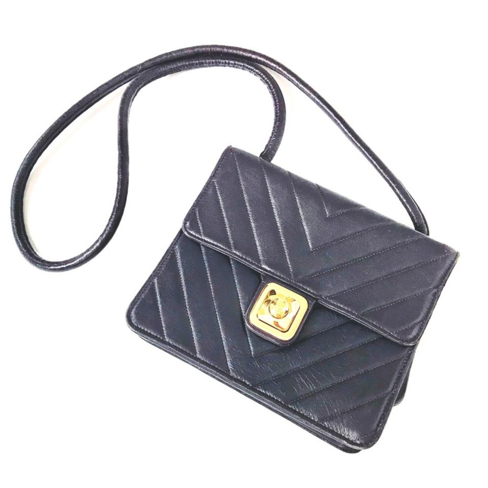 11e813c61a62 Chanel Vintage Chevron Quilted Cc Push Lock Navy Purple Gold Lambskin  Leather Shoulder Bag