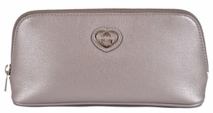 Gucci New Gucci Women's 338190 Silver Grey Leather GG Heart Cosmetic Case