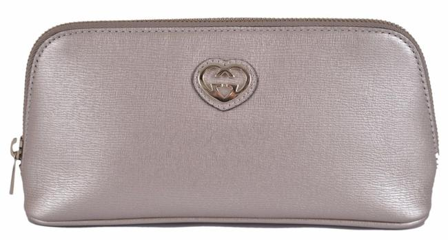 Item - Silver Grey New Women's 338190 Leather Gg Heart Cosmetic Bag