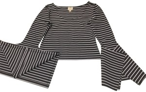 Torn by Ronny Kobo Crop Bell Sleeve Striped Top Black White
