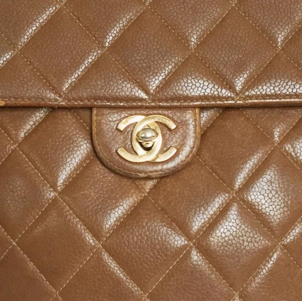 d96331e06eb550 Chanel Vintage Quilted Caviar Single Square Flap Cc Turnlock Brown Leather  Shoulder Bag - Tradesy