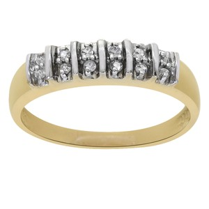 Avital & Co Jewelry Two Tone Gold 0.05 Carat Round Cut Diamond Vintage 14k Women's Wedding Band