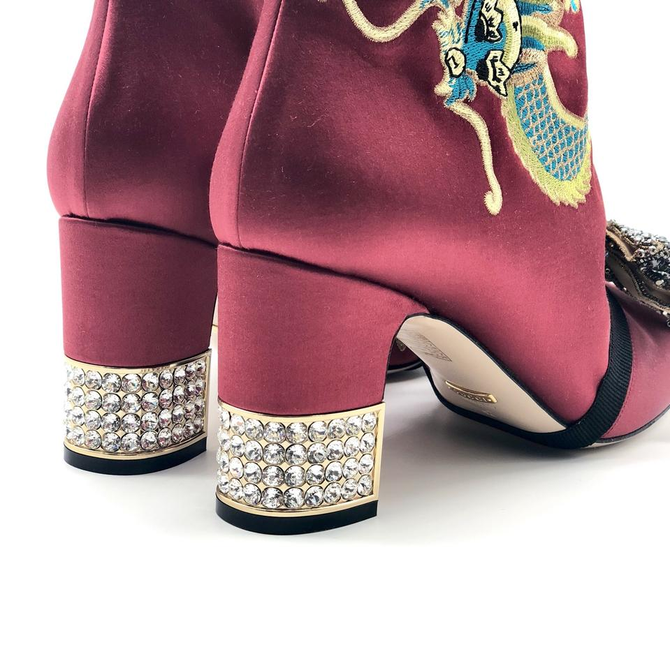 0b4478ba5ec Gucci Candy Embroidered Dragon Satin Ankle Boots Booties Size EU 38 ...