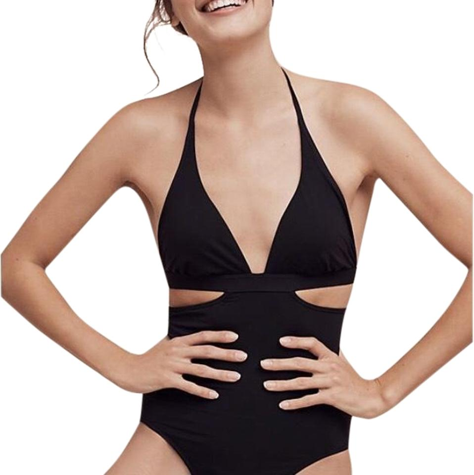 7adf3007a6f SeaFolly Black 41071184 / Cutout One-piece Bathing Suit Size 6 (S ...