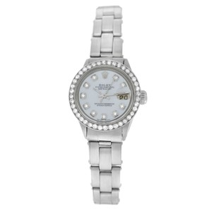 Rolex Ladies Rolex Oyster Perpetual Date 6516 Stainless Steel Diamond MOP 26