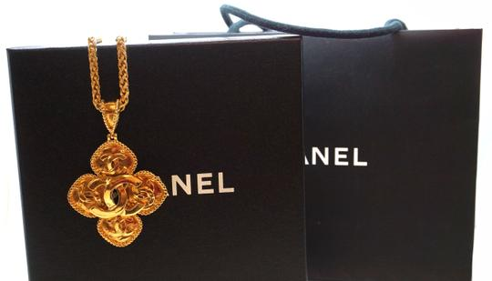 Chanel Rare CC Diamond shaped long large gold chain necklace