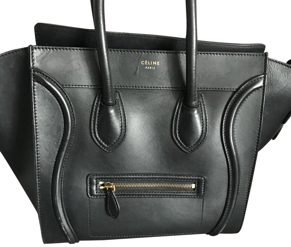 Luggage Calfskin Mini Céline Tote Black Leather dwxUnqtv