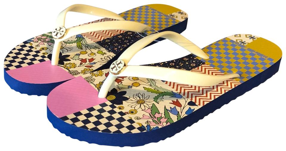 Tory Ivory Burch New Ivory Tory Multi Patchwork Thin Flip Flop Sandals 58dd61