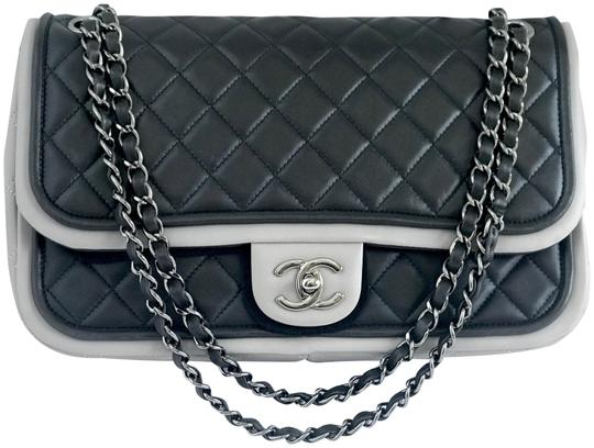 7e0620432e3f Chanel Classic Large Quilted Flap Black Lambskin Leather Shoulder ...