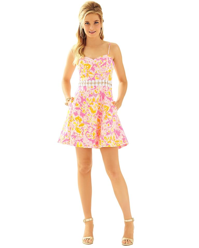 6d1e2077635 Lilly Pulitzer Kir Royal Pink Ooh La La Lenore Lace Cut-out New Casual Dress