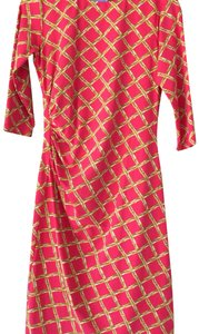 J.McLaughlin short dress Dark Coral with wheat colored bamboo print that creates a diamond pattern. on Tradesy