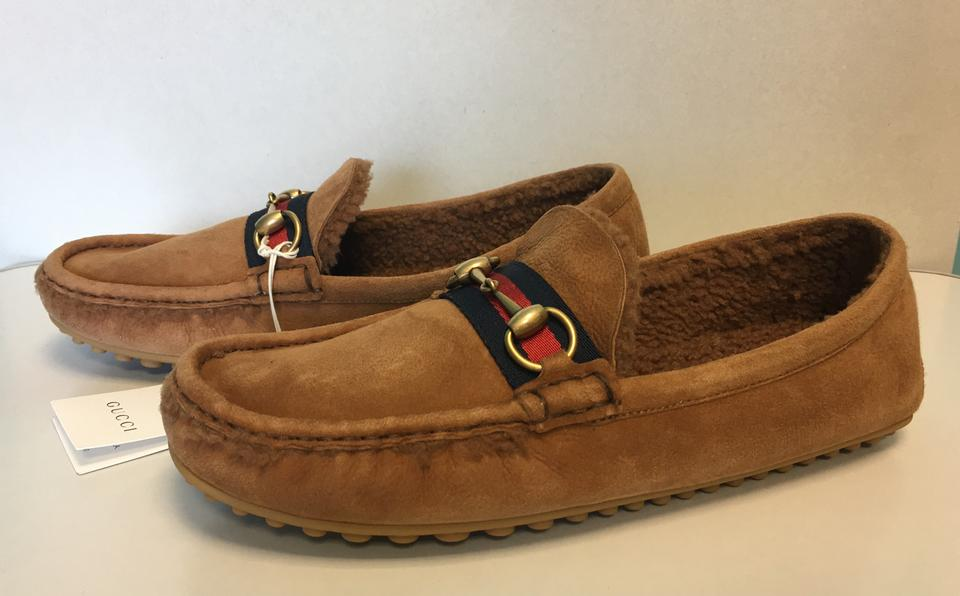 296de76db Gucci Tan Men's Kanye Slip-on Driving with Genuine Shearling Lined ...