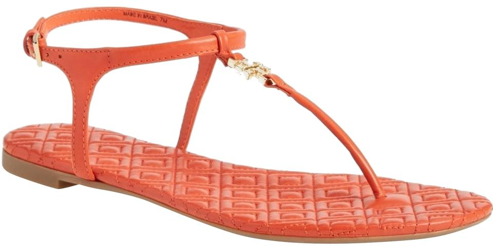 fae6868d2b4 Tory Burch Orange Marion Quilted Sandals Size US 9 Regular (M
