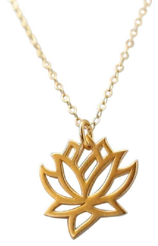 Gold New Lotus Flower 14k Plated Lotus Flower Necklace Tradesy