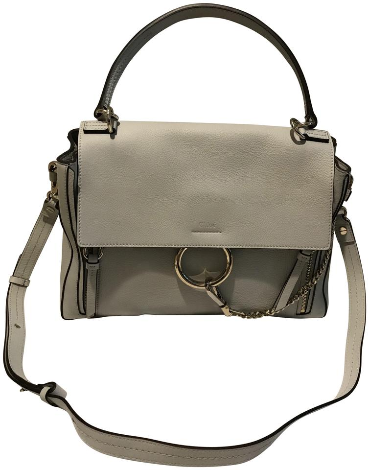 1cd8392af3 Chloé Faye Day Medium Flap Light Gray Mixed Calfskin Leather   Suede Shoulder  Bag