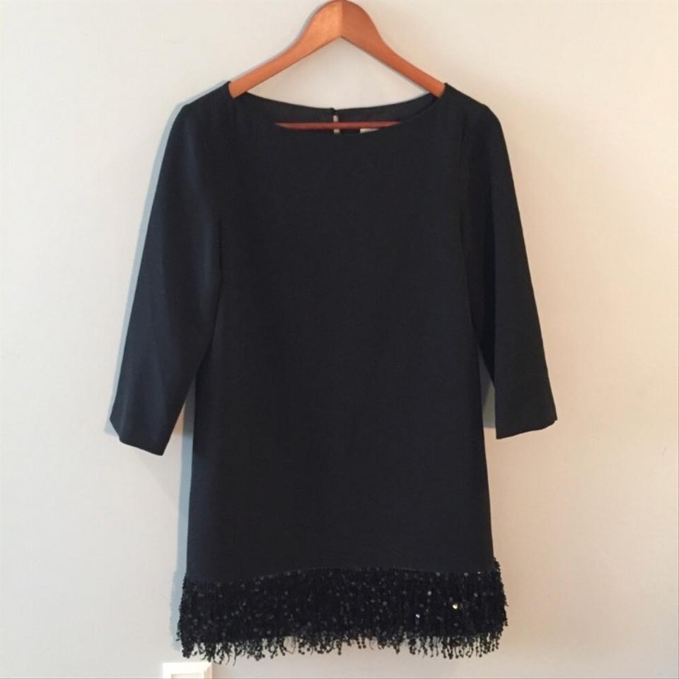 Sequin Kate Mini Night Shift Spade Fringe Black Out Dress ppaxwEqB
