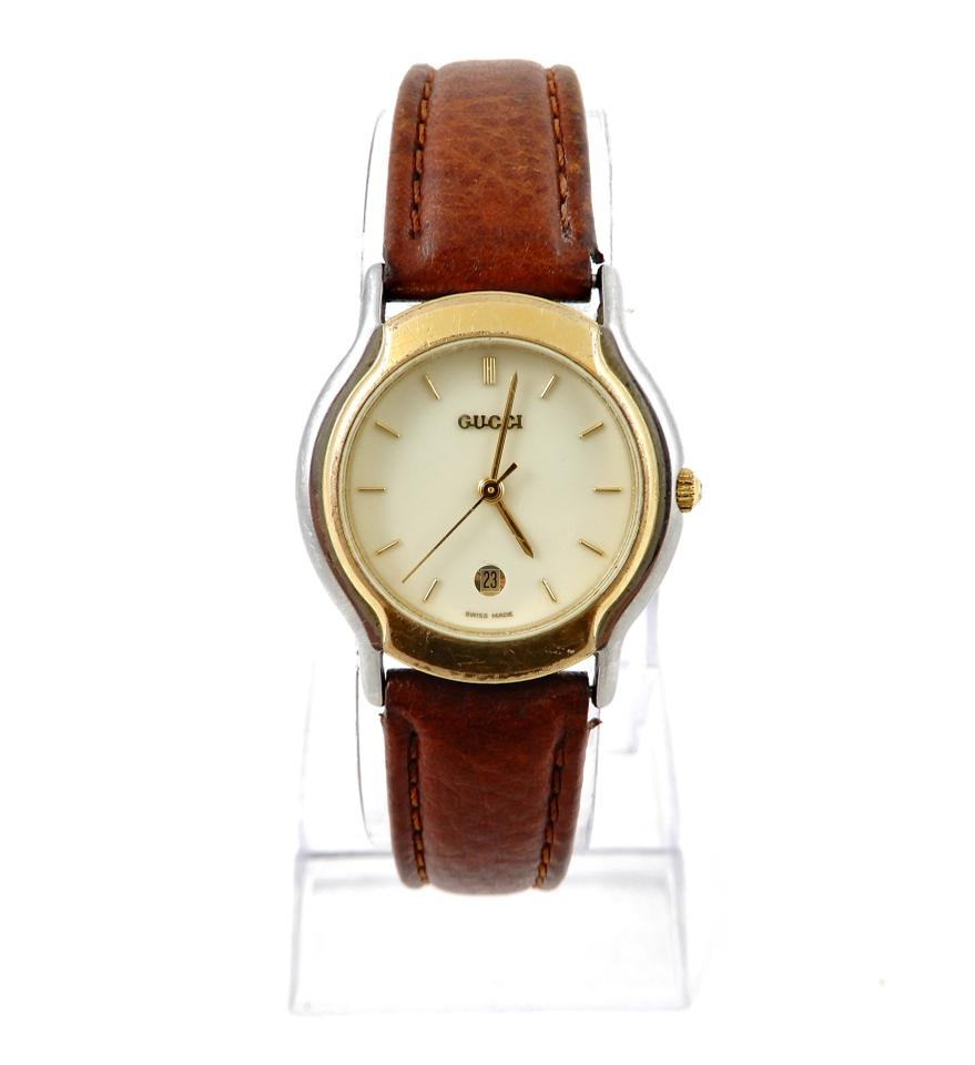 42a3808a246 Gucci Vintage Gucci 8000L Brown Gold Stainless Steel Leather Womens Watch  Image 0 ...