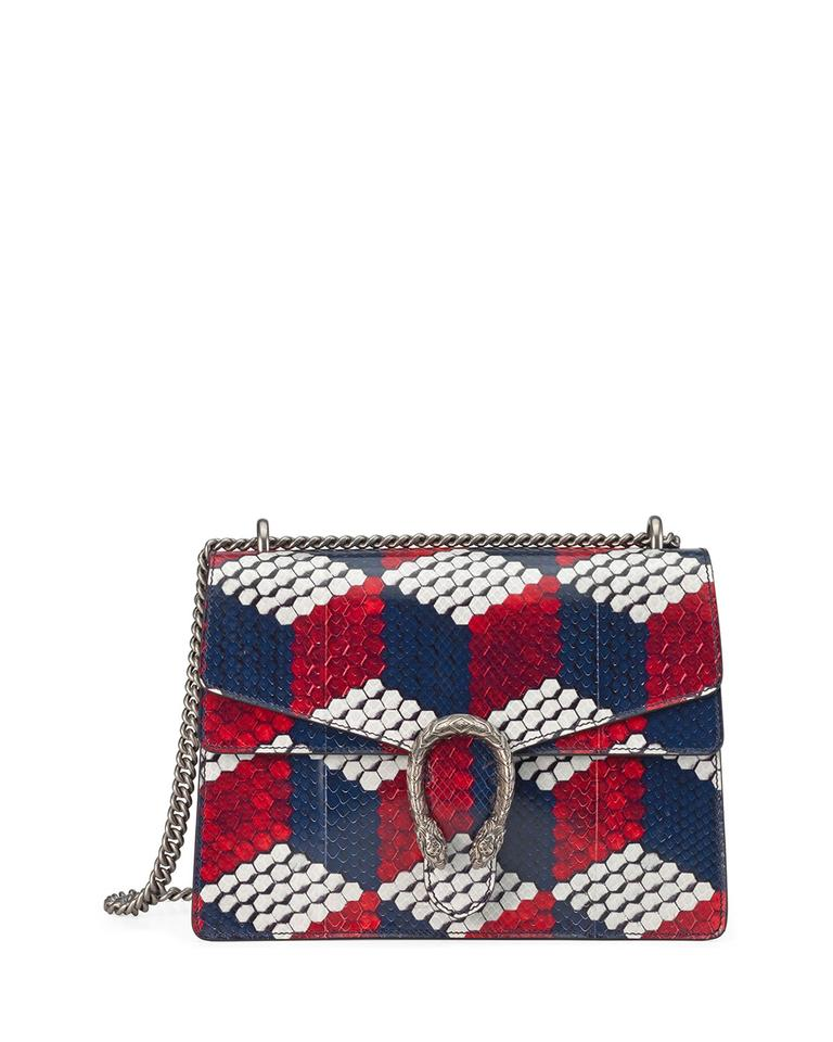 6dbe616a4c9 Gucci Dionysus New Medium Cubic Red White Blue Python Skin Leather ...