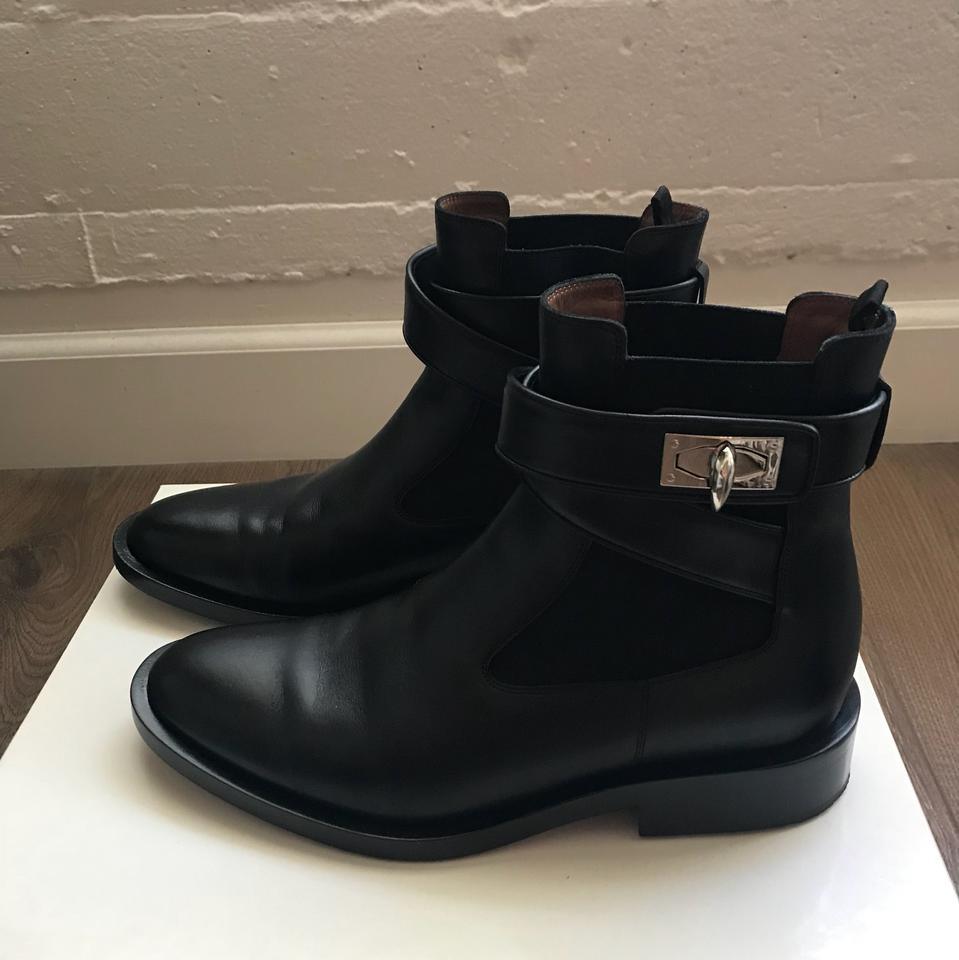 Shark Lock Boots Leather Black Givenchy Ankle Booties 70Bqxy57wE