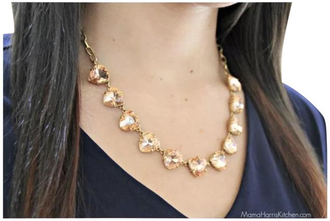 Item - New Peach Rose Somervell Crystal Necklace