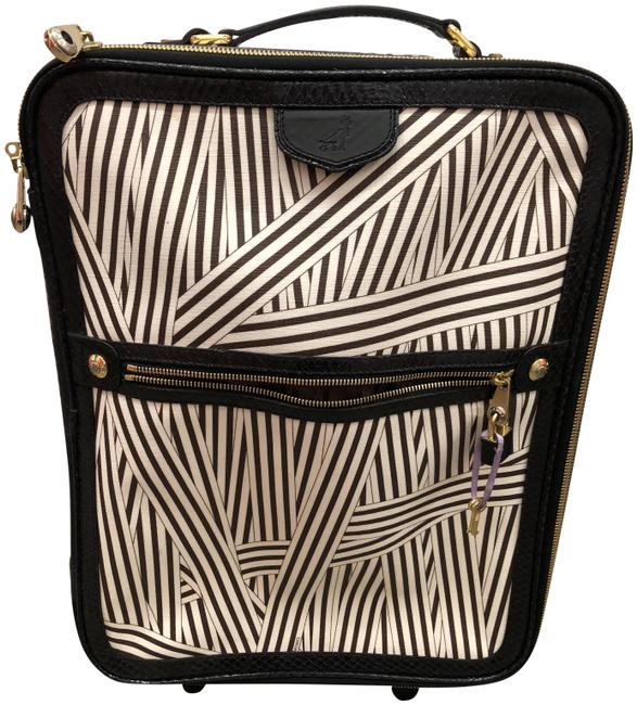 Item - West 57th Stripped Suitcase Black and White Leather Weekend/Travel Bag