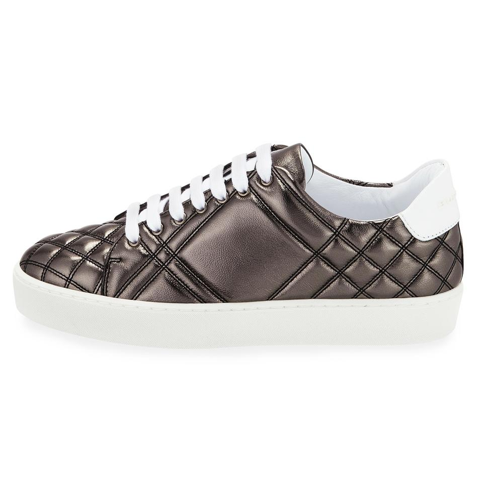 Sneaker Leather Nickel Dark Low Westford Burberry Check Quilted Metallic Gray Flats top wAZRxxfqv