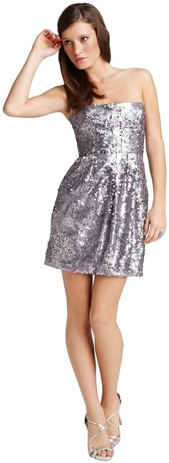 BCBGMAXAZRIA Lilac-mist Allover Sequin Strapless Bodycon Style No. Fjc6p494 Short Formal Dress Size 8 (M) BCBGMAXAZRIA Lilac-mist Allover Sequin Strapless Bodycon Style No. Fjc6p494 Short Formal Dress Size 8 (M) Image 1