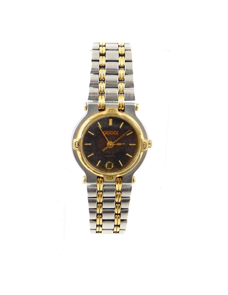 a16607b66f3 Gucci 9000L Two-Tone Gold Stainless Steel Vintage Ladies Watch Image 0 ...