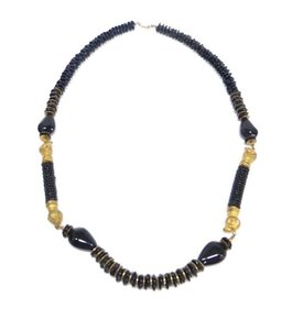 Miriam Haskell Vintage Black Beaded Necklace with Ram Detail