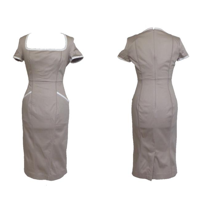 Item - Tan Sheath Mid-length Work/Office Dress Size 6 (S)