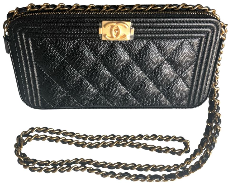 67e13b2071a0 Chanel Boy Wallet Detachable Chain Black with Gold Leather Clutch ...