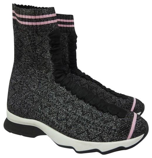971266bc284 Fendi Silver Rockoko High Top Sock Sneaker Pink Women s Black ...