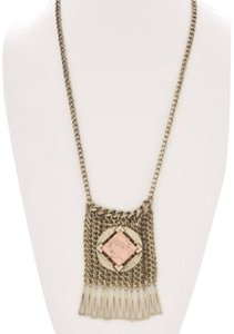 Etienne Aigner New Mesh Pendant Coral Stone Necklace