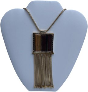 Etienne Aigner New Patchwork Pendant Tassel Necklace