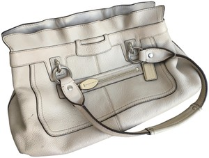 Coach Ruffle Winter Spring Resort Leather Satchel in Off White/Ivory