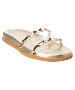 60b55ca7772a Valentino Gold Rockstud Moonwalk Studded Slide Sandals Size EU 37 ...