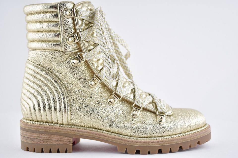 new concept d8e7c 76444 Christian Louboutin Gold Mad Platine Crinkled Leather Flat Combat Lace Up  Tie Ankle Boots/Booties Size EU 36 (Approx. US 6) Regular (M, B)