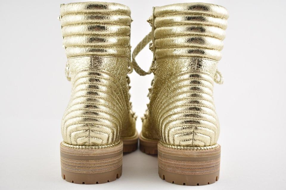 Combat Lace Mad Tie Ankle Leather Booties Louboutin Boots Up Gold Crinkled Platine Flat Christian 48xZ0wqpp