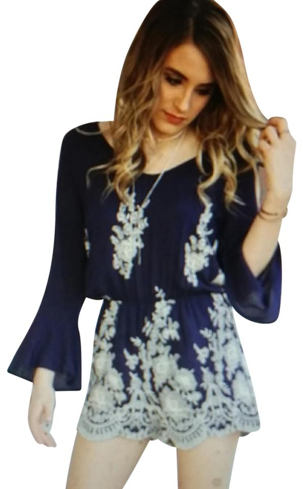 c607888b8420 Navy Blue and Beige Embroidered Bell Sleeve Romper/Jumpsuit - Tradesy