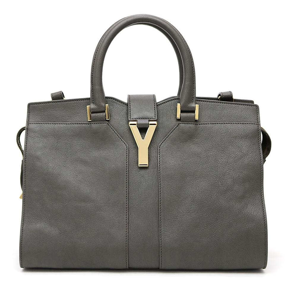ef7ad732 Saint Laurent Y Mini Bag Cabas ChYc Ysl Y-ligne Grey Leather Satchel 47%  off retail