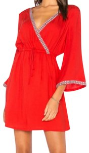 Jack by BB Dakota short dress Red Surplice Neckline Embroidered Ribbon Fit + Flare 3/4 Bell Sleeves Vibrant Happy Color on Tradesy