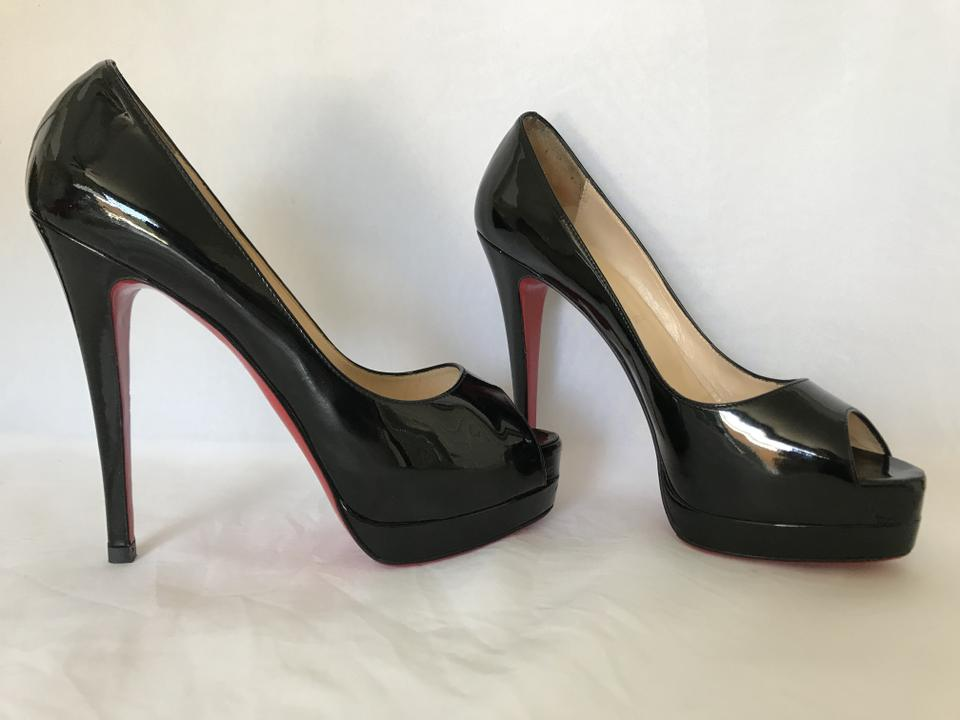Christian Black 140 Red Heel Lady 5it Sole Louboutin Pumps 38 Leather Patent High Platform Toe r5Z7r0wqx
