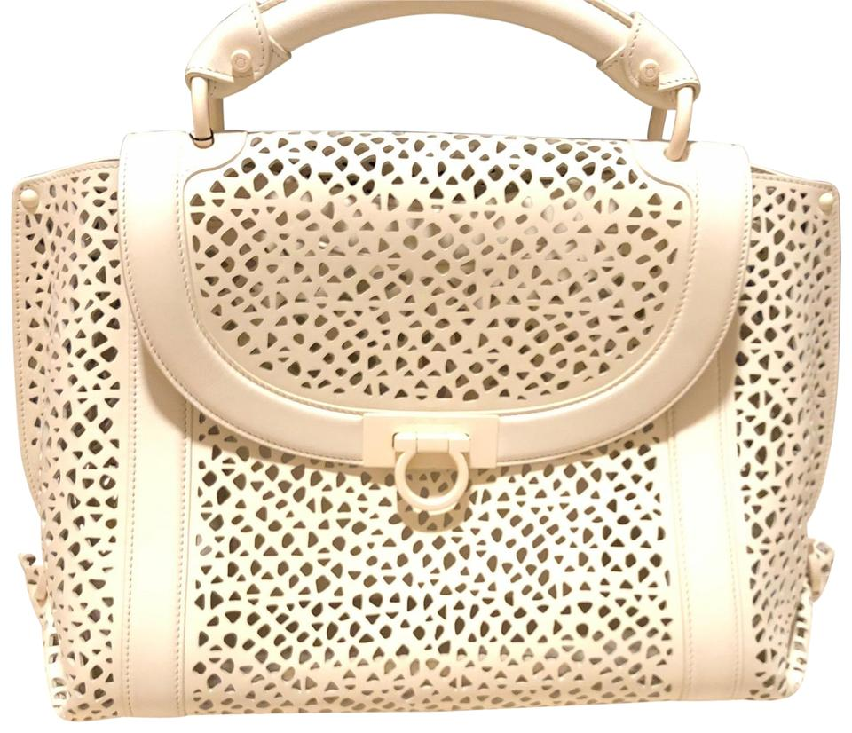 a816658b9655 Salvatore Ferragamo Laser Cut Sophia White Leather Medium Size ...