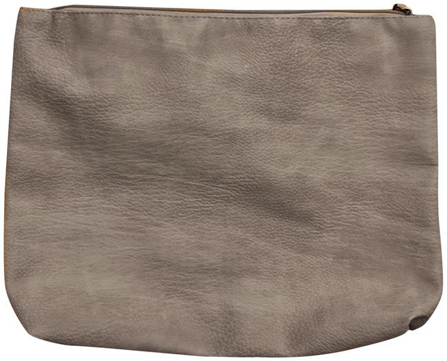 Item - Vegan Leather Oversized Beige Polyurethane Clutch