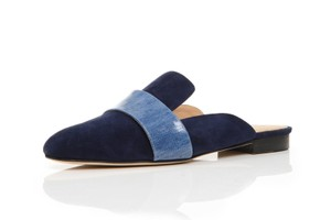 Dear Frances Suede Patent Denim Backless Blue Mules